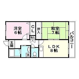 コーポ灰塚浦[3階]の間取り