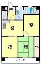 愛知県豊田市東梅坪町9丁目の賃貸マンションの間取り