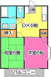 埼玉県所沢市小手指南3丁目の賃貸アパートの間取り