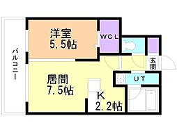 癒禅(ユウゼン)32 2階1LDKの間取り