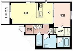 南海高野線 白鷺駅 徒歩15分の賃貸マンション 3階1LDKの間取り