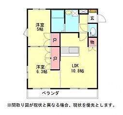 愛知県一宮市大和町毛受字浜田の賃貸アパートの間取り
