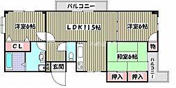 岡山県岡山市中区原尾島1丁目の賃貸アパートの間取り