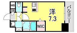 SOAR SINNAGATA 6階ワンルームの間取り