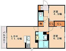 福岡県福岡市南区西長住2丁目の賃貸アパートの間取り