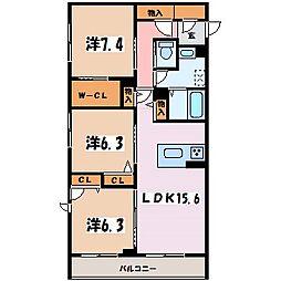 長野県松本市笹部2丁目の賃貸マンションの間取り