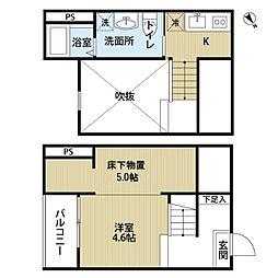 愛知県名古屋市守山区新守山の賃貸アパートの間取り