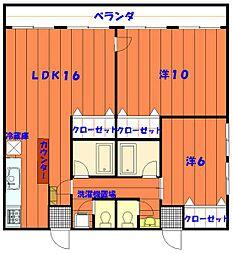 バス 松田下車 徒歩3分の賃貸アパート 4階2LDKの間取り