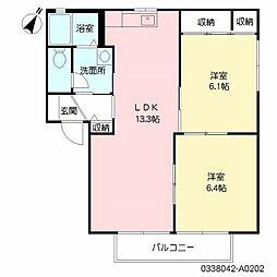 福岡県北九州市八幡西区茶屋の原1丁目の賃貸アパートの間取り