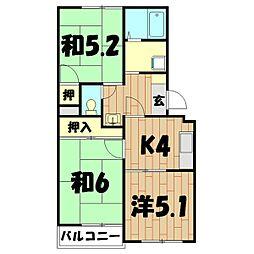 神奈川県横浜市旭区鶴ケ峰1丁目の賃貸マンションの間取り