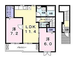 コーポ勢多七番館[2階]の間取り