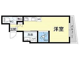 KOUMASTER NISHIKUJO 2階ワンルームの間取り