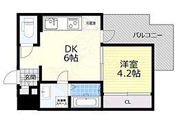 阪急千里線 吹田駅 徒歩10分の賃貸マンション 2階1DKの間取り