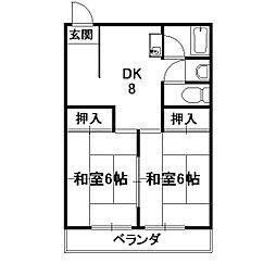 サンハイツ西ノ京[5階]の間取り