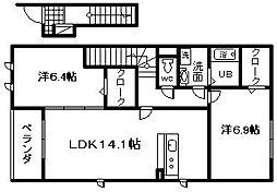 大阪府岸和田市尾生町6丁目の賃貸アパートの間取り