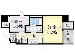 南海線 堺駅 徒歩16分の賃貸マンション 9階1SKの間取り