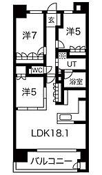 愛知県日進市赤池2丁目の賃貸マンションの間取り