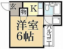 京都府京都市左京区下鴨北園町の賃貸アパートの間取り