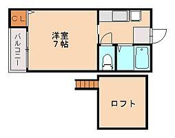 福岡県福岡市中央区六本松2丁目の賃貸アパートの間取り