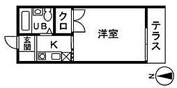 スカイ平塚[203号室]の間取り