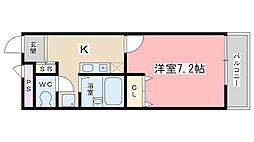 プレジール山科(東野)[203号室]の間取り