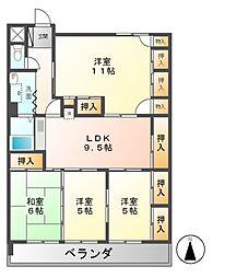 愛知県名古屋市北区東水切町4丁目の賃貸マンションの間取り