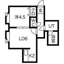 LEE SPACE新道東[206号室]の間取り