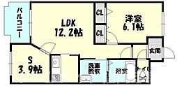 福岡県福岡市博多区金の隈3丁目の賃貸マンションの間取り