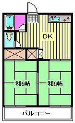 丸二ハウス[203号室]の間取り