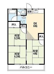 福岡県北九州市八幡西区上上津役4丁目の賃貸アパートの間取り