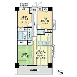 ライオンズマンション二子多摩川[7階]の間取り