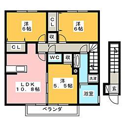 セジュールかすみ B棟[2階]の間取り