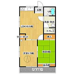 栃木県日光市森友の賃貸アパートの間取り