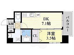 阪急京都本線 正雀駅 徒歩5分の賃貸マンション 5階1DKの間取り