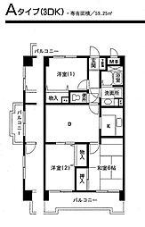 粟飯原マンション[203号室]の間取り