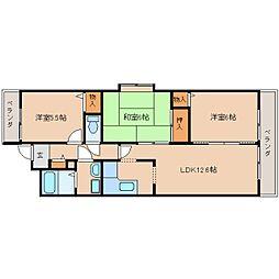 近鉄天理線 天理駅 徒歩1分の賃貸マンション 6階3LDKの間取り