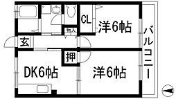 兵庫県伊丹市西野5丁目の賃貸アパートの間取り