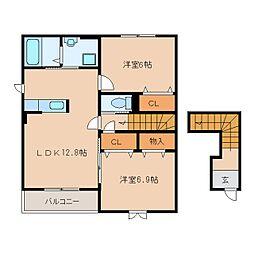 近鉄大阪線 桜井駅 徒歩33分の賃貸アパート 2階2LDKの間取り