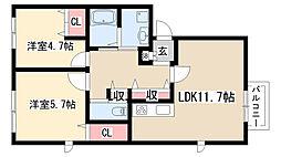 愛知県名古屋市緑区鴻仏目1丁目の賃貸アパートの間取り