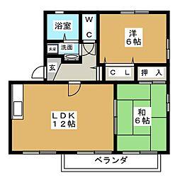 愛知県名古屋市北区桐畑町の賃貸アパートの間取り