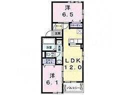 林アパートC 2階2LDKの間取り