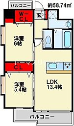 (仮称)中井5丁目賃貸マンション 2階2LDKの間取り