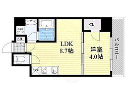 Osaka Metro御堂筋線 江坂駅 徒歩8分の賃貸マンション 6階1LDKの間取り
