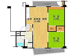 UR逆瀬川住宅[19-405号室]の間取り