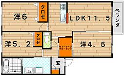 クラヴィエ三萩野 B棟[1階]の間取り