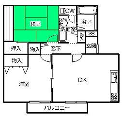 茨城県ひたちなか市大字武田の賃貸アパートの間取り