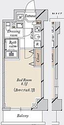 都営新宿線 森下駅 徒歩19分の賃貸マンション 4階1Kの間取り