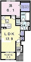 JR宇野線 彦崎駅 徒歩10分の賃貸アパート 1階1LDKの間取り