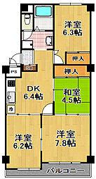 千島第一コーポ3号棟[2階]の間取り