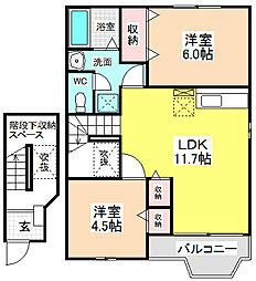 愛知県名古屋市天白区野並4丁目の賃貸アパートの間取り